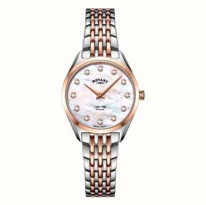 Rotary Ultraslank tweekleurig parelmoer armbandhorloge voor dames LB08012/41/D