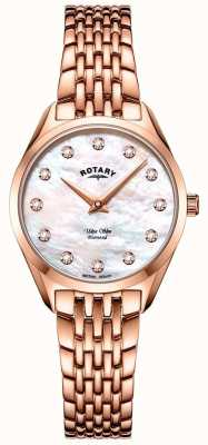 Rotary Ultraslank roségouden dames armbandhorloge LB08014/41/D
