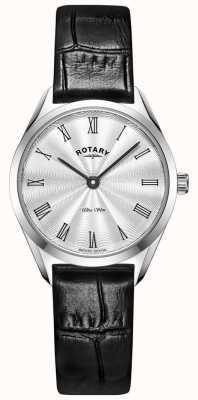 Rotary Ultraslank zilver leren dameshorloge LS08010/01