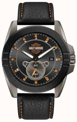 Harley Davidson Mannen voor hem! | zwarte leren band | grijze wijzerplaat 78B182