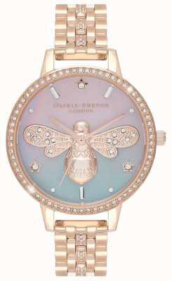 Olivia Burton Sparkle Bee voor dames | roségouden stalen armband | kristallen set OB16GB04