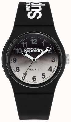 Superdry Stedelijke lazer | zwarte siliconen band | zwarte & grijze wijzerplaat SYG198EB