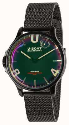 U-Boat Darkmoon 38mm | zwarte mesh armband | regenboog wijzerplaat 8470/MT