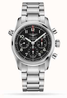 Longines Spirit chronograaf automatische zwarte wijzerplaat roestvrij staal L38204536