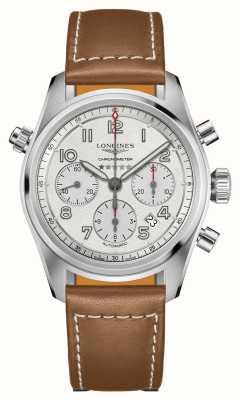 Longines Spirit automatische chronograaf zilveren wijzerplaat bruine band L38204732