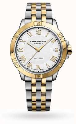 Raymond Weil Tango voor heren | 41 mm | tweekleurige stalen armband | witte wijzerplaat 8160-STP-00308