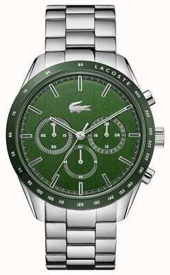 Lacoste | heren | Boston | roestvrijstalen armband | groene wijzerplaat | 2011080