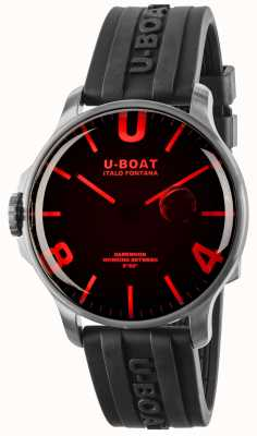 U-Boat Darkmoon 44 mm rood glas zwarte rubberen band 8465