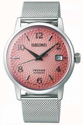 Seiko Presage in beperkte oplage | stalen mesh armband | roze wijzerplaat SRPE47J1