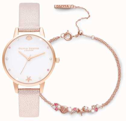 Olivia Burton Onder de zee | cadeauset met horloge en armband | roze OBGSET141