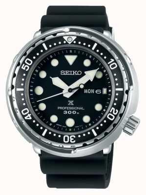 Seiko Prospex voor heren | zwarte siliconen armband | zwarte wijzerplaat S23629J1