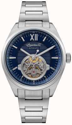 Ingersoll De Shelby automatische blauwe wijzerplaat roestvrijstalen armband I10902