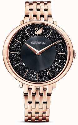 Swarovski | kristallijn chic | roségouden pvd-armband | zwarte glitter wijzerplaat | 5544587
