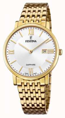 Festina Swiss made voor heren | vergulde stalen armband | zilveren wijzerplaat F20020/1