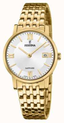 Festina Swiss made voor dames | vergulde stalen armband | zilveren wijzerplaat F20021/1