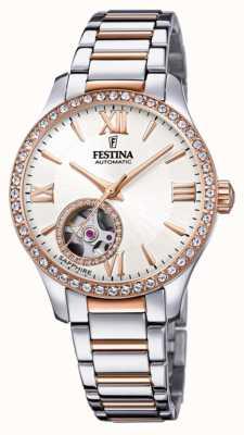 Festina Damesautomaat | tweekleurige roestvrijstalen armband | zilveren wijzerplaat F20487/1