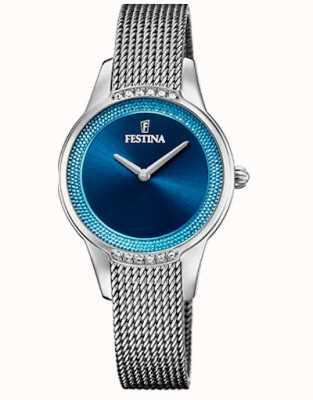 Festina Keramiek voor dames | tweekleurige armband van staal / keramiek | blauwe wijzerplaat F20494/2