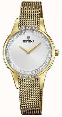 Festina Damesarmband van verguld staal | zilverkleurige kristallen wijzerplaat F20495/1