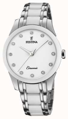 Festina Keramiek voor dames | tweekleurige armband van staal / keramiek | witte wijzerplaat F20499/1