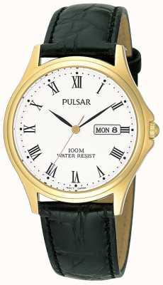 Pulsar Gents analoge lederen band horloge PXF292X1