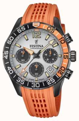 Festina Chronograaf voor heren | oranje siliconen band | grijze wijzerplaat F20518/1