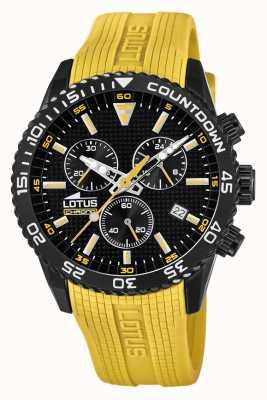 Lotus Gele siliconen herenband | zwarte chronograaf wijzerplaat L18672/4