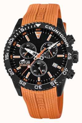 Lotus Oranje siliconen band voor heren | zwarte chronograaf wijzerplaat L18672/5