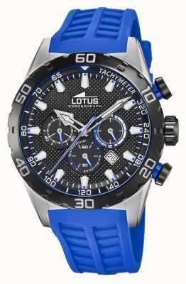 Lotus Kleur | blauwe siliconen herenband | zwarte chronograaf wijzerplaat L18677/4