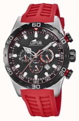 Lotus Kleur | rode siliconen herenband | zwarte chronograaf wijzerplaat L18677/6
