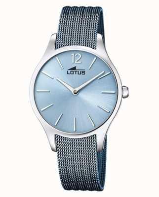 Lotus Blauwe stalen mesh-armband voor dames | blauwe wijzerplaat L18749/2