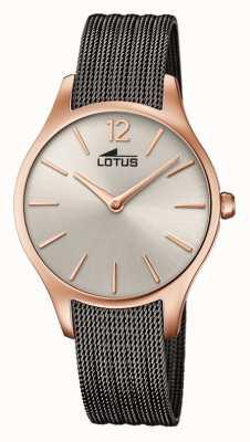 Lotus Grijze mesh armband voor dames | sunray rose gouden wijzerplaat L18751/1