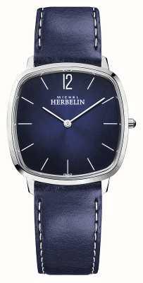 Michel Herbelin Stad | blauwe leren herenband | blauwe wijzerplaat 16905/15BL