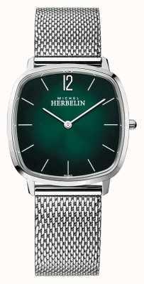 Michel Herbelin Stad | herenarmband van mesh | groene wijzerplaat 16905/16B