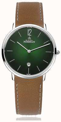 Michel Herbelin Stad | bruine leren herenband | groene wijzerplaat 19515/16NGO