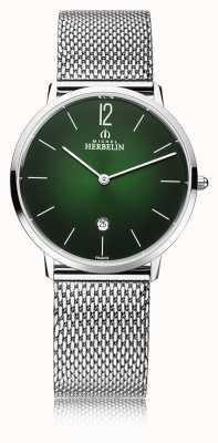 Michel Herbelin Stad | herenarmband van mesh | groene wijzerplaat 19515/16NB