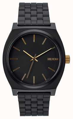 Nixon Tijd teller | mat zwart / goud | zwarte ip stalen armband | zwarte wijzerplaat A045-1041-00