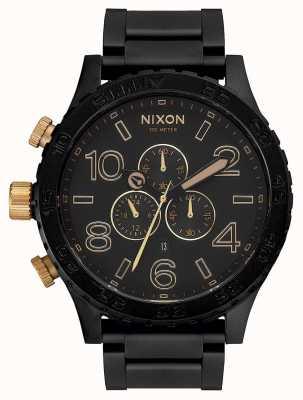Nixon 51-30 chrono | mat zwart / goud | zwarte ip-armband | zwarte wijzerplaat A083-1041-00