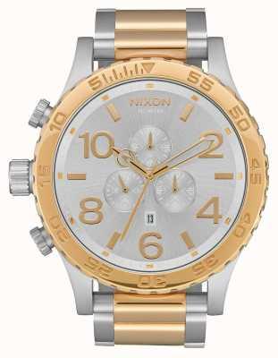 Nixon 51-30 chrono | zilver / goud | tweekleurige armband | zilveren wijzerplaat A083-1921-00