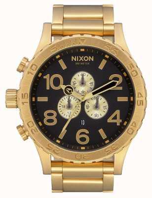 Nixon 51-30 chrono | geheel goud / zwart | gouden ip-armband | zwarte wijzerplaat A083-510-00