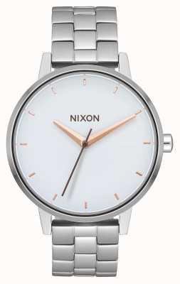 Nixon Kensington | zilver / wit / roségoud | roestvrijstalen armband | witte wijzerplaat A099-3029-00
