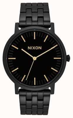 Nixon Porter | helemaal zwart / goud | zwarte ip stalen armband | zwarte wijzerplaat A1057-1031-00