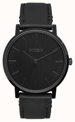 Nixon Porter leer | helemaal zwart | zwarte leren band | zwarte wijzerplaat A1058-001-00