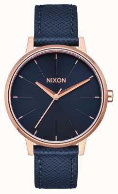 Nixon Kensington leer | marine / roségoud | blauwe leren band | blauwe wijzerplaat A108-2195-00