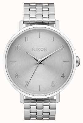 Nixon Pijl   geheel zilver   roestvrijstalen armband   zilveren wijzerplaat A1090-1920-00