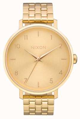 Nixon Pijl   alle goud   gouden ip stalen armband   gouden wijzerplaat A1090-502-00