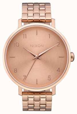 Nixon Pijl | alle roségoud | roségouden ip stalen armband | rose gouden wijzerplaat A1090-897-00
