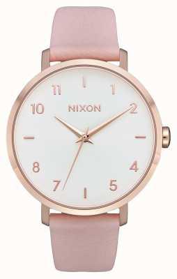 Nixon Pijl leer   rose goud / licht roze   roze leren riem   witte wijzerplaat A1091-3027-00