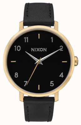 Nixon Pijl leer   goud / zwart   zwarte leren band   zwarte wijzerplaat A1091-513-00