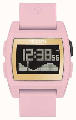Nixon Basistij   zacht roze / goud / lh   digitaal   roze siliconen band A1104-2773-00