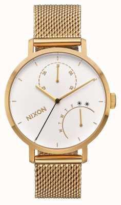 Nixon Koppeling   geheel goud / wit   gouden ip mesh armband   witte wijzerplaat A1166-504-00